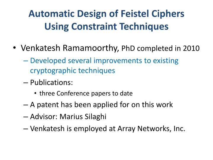 Automatic Design of Feistel Ciphers