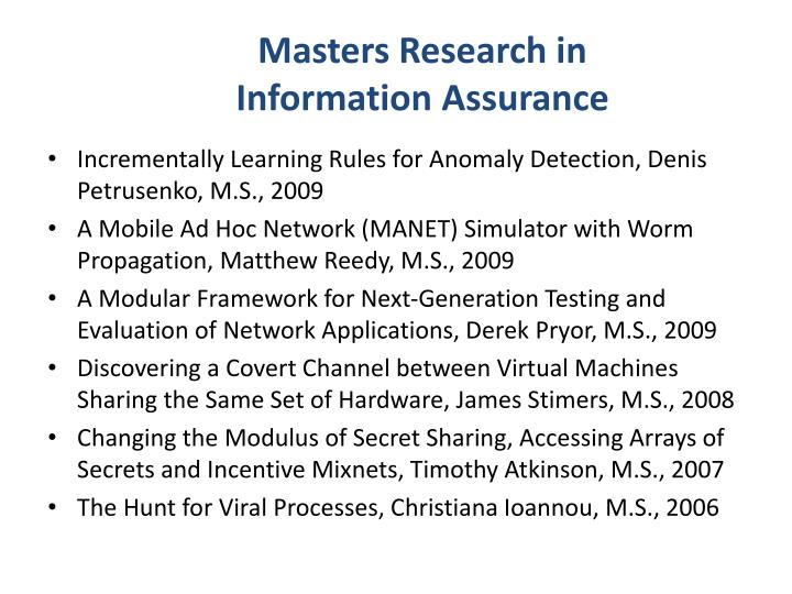 Masters Research in Information Assurance