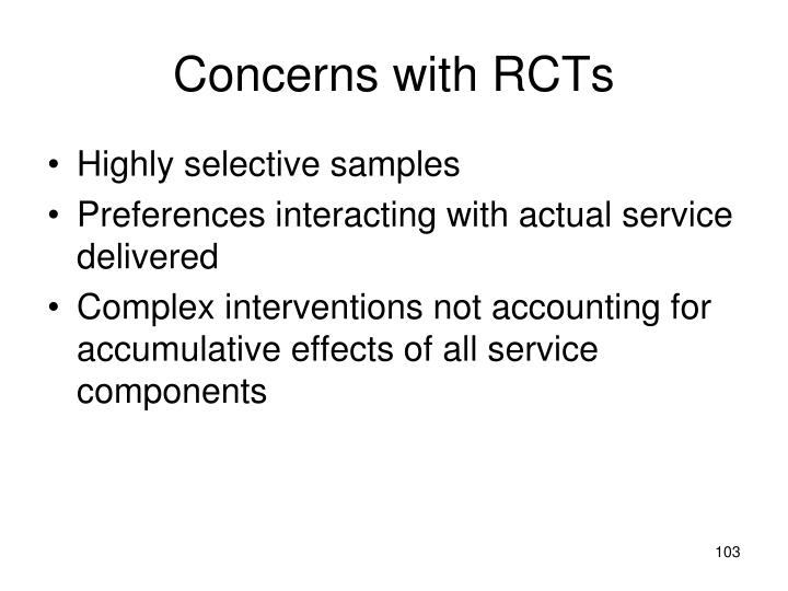Concerns with RCTs