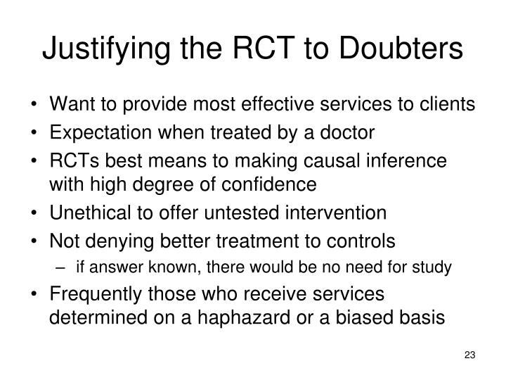 Justifying the RCT to Doubters