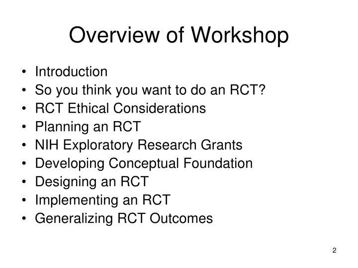 Overview of workshop