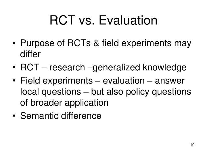 RCT vs. Evaluation