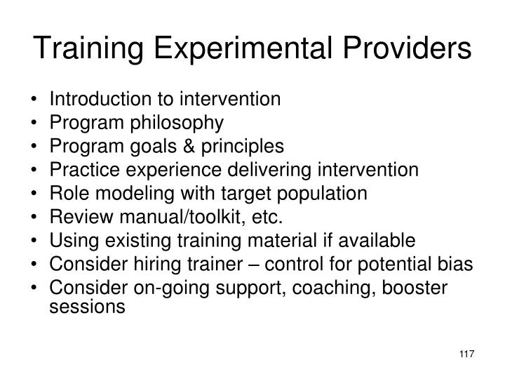 Training Experimental Providers