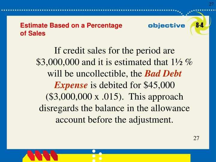 If credit sales for the period are $3,000,000 and it is estimated that 1½ % will be uncollectible, the