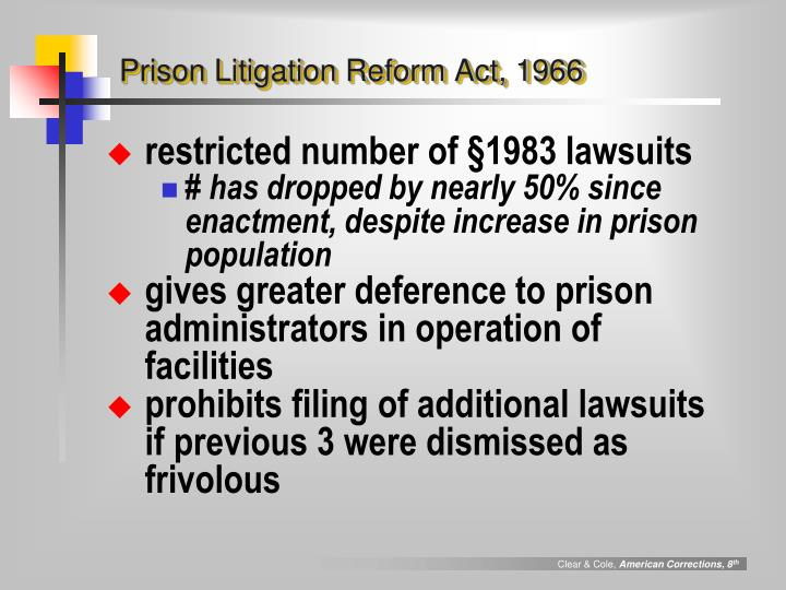 Prison Litigation Reform Act, 1966