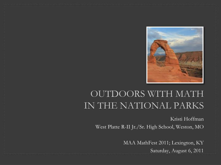 Outdoors with math in the national parks
