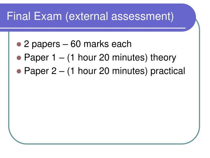 Final Exam (external assessment)
