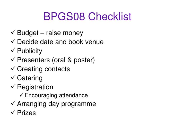 BPGS08 Checklist