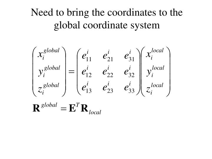 Need to bring the coordinates to the global coordinate system