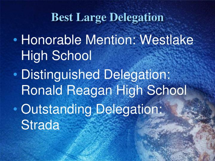 Best Large Delegation