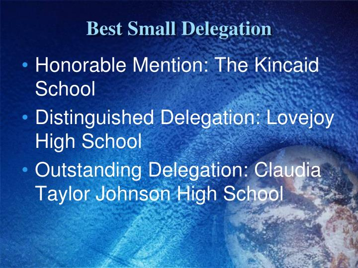 Best Small Delegation