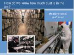 how do we know how much dust is in the ice1