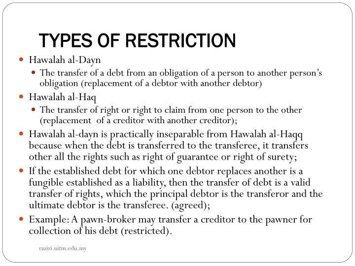 TYPES OF RESTRICTION