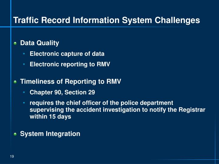 Traffic Record Information System Challenges