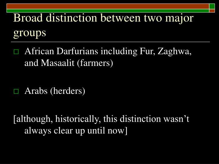 Broad distinction between two major groups