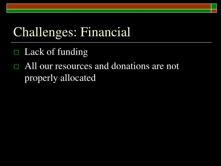 Challenges: Financial