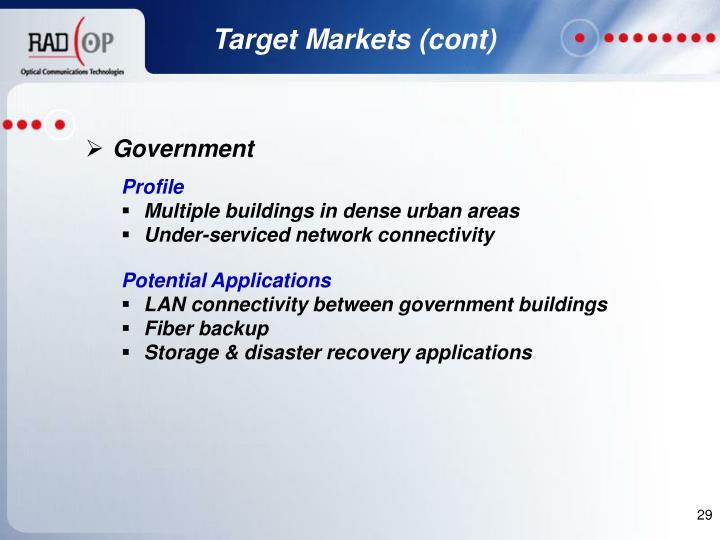 Target Markets (cont)