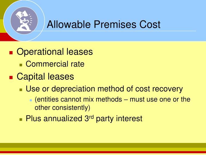Allowable Premises Cost