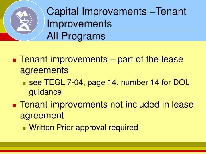 Capital Improvements –Tenant Improvements