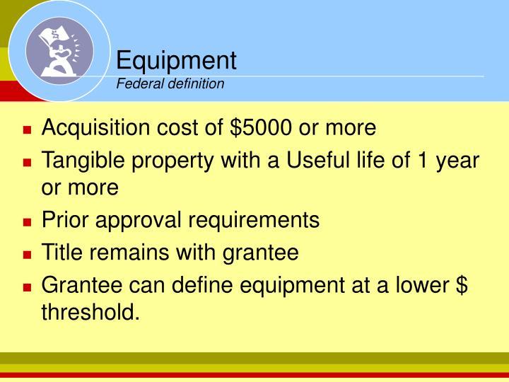 Equipment federal definition