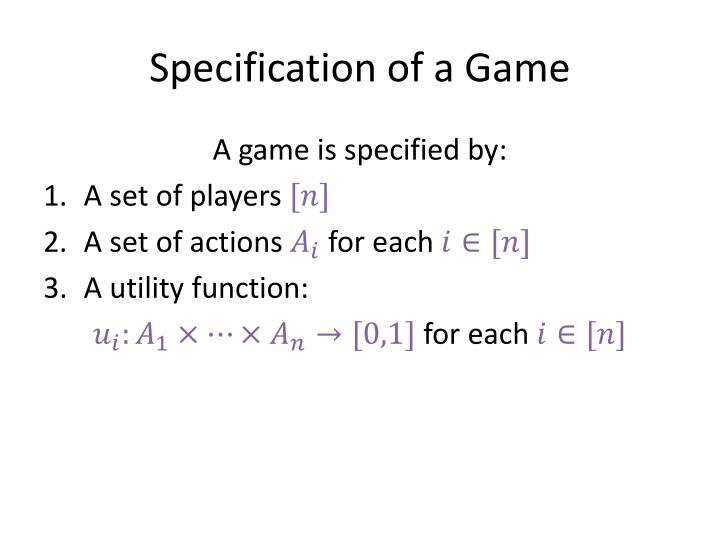Specification of a Game