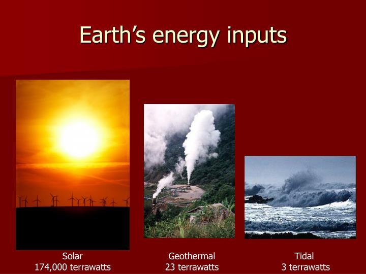 Earth s energy inputs