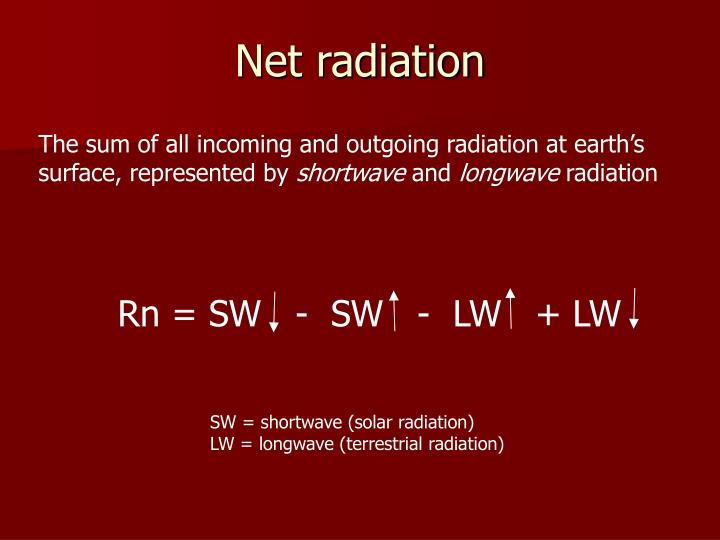 Rn = SW   -  SW   -  LW   + LW