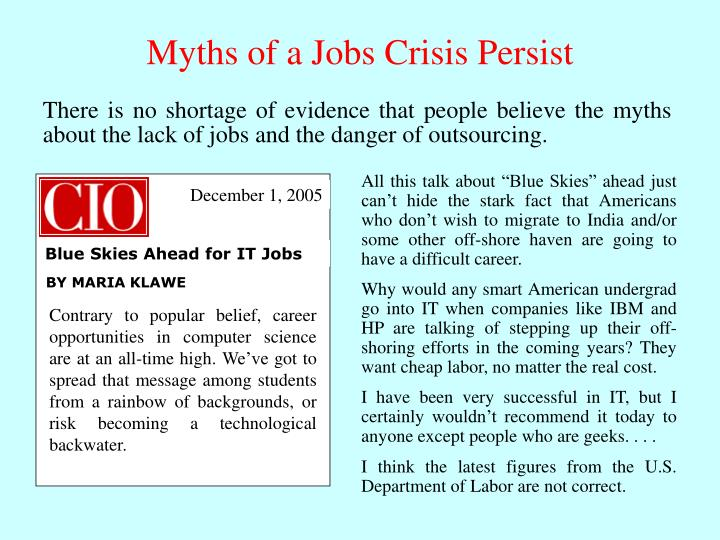 """All this talk about """"Blue Skies"""" ahead just can't hide the stark fact that Americans who don't wish to migrate to India and/or some other off-shore haven are going to have a difficult career."""