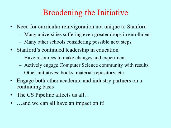 Need for curricular reinvigoration not unique to Stanford
