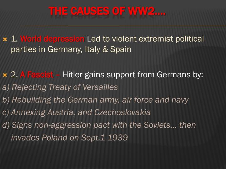 The CAUSES OF WW2….