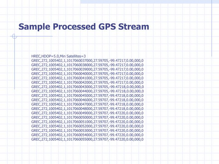 Sample Processed GPS Stream