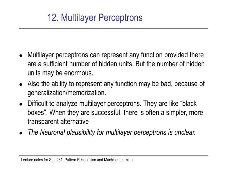 12. Multilayer Perceptrons