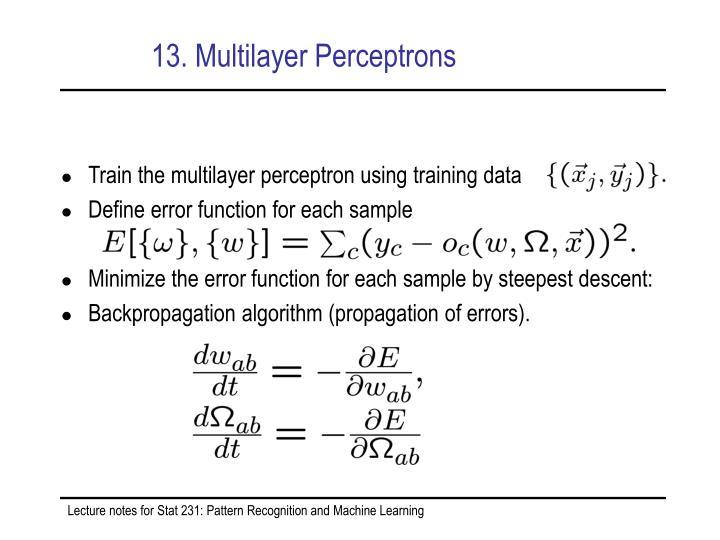 13. Multilayer Perceptrons
