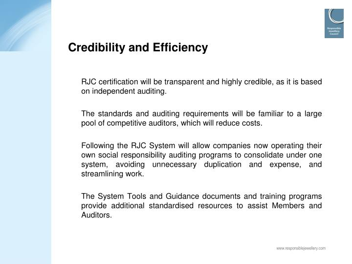 Credibility and Efficiency