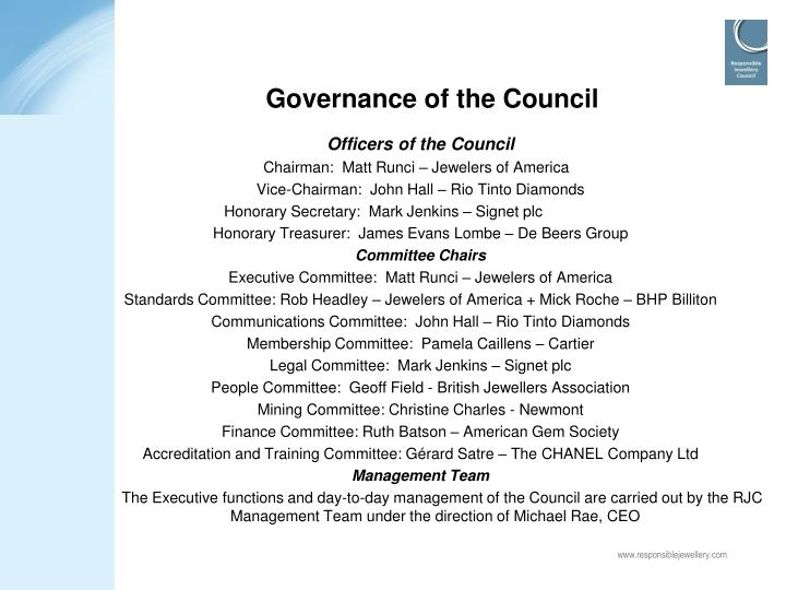 Governance of the Council