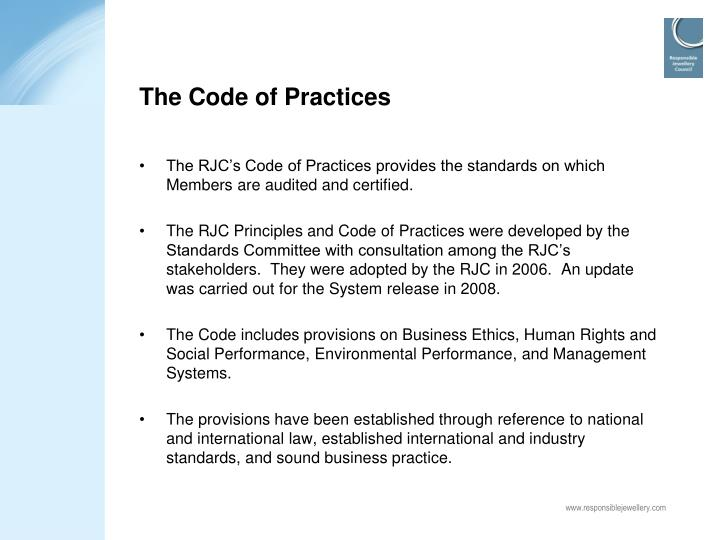 The Code of Practices