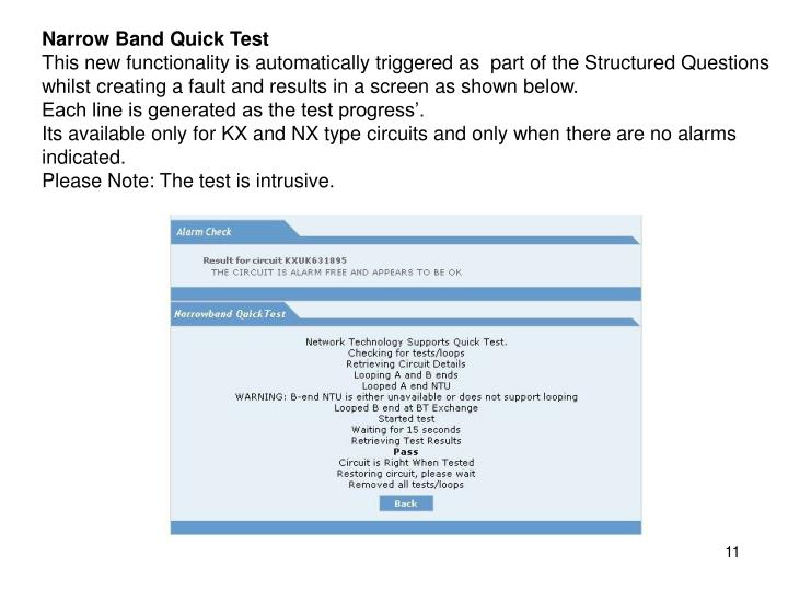Narrow Band Quick Test