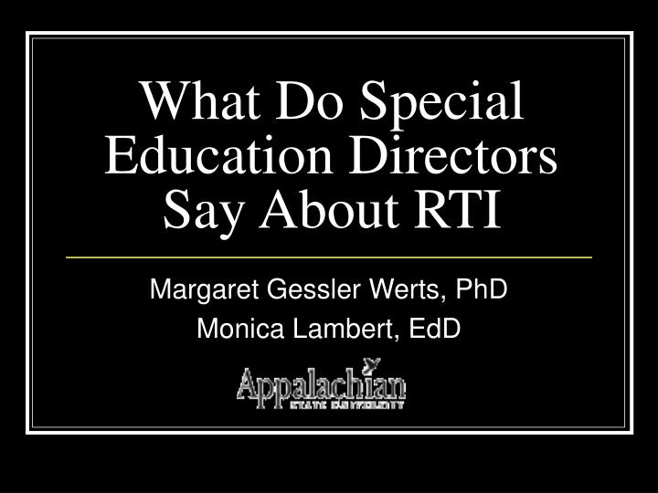 what do special education directors say about rti n.