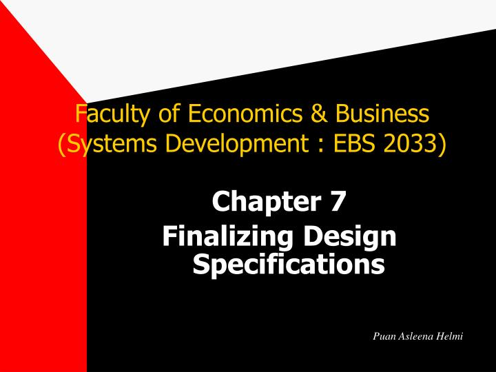 faculty of economics business systems development ebs 2033 n.