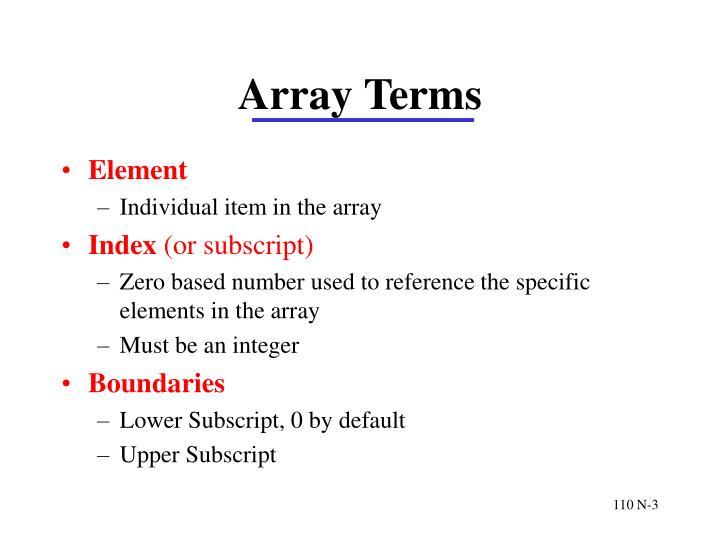 Array terms