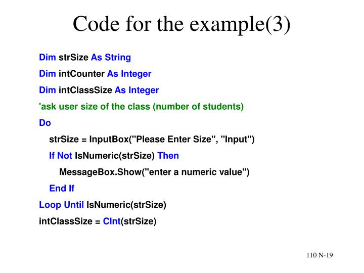 Code for the example(3)