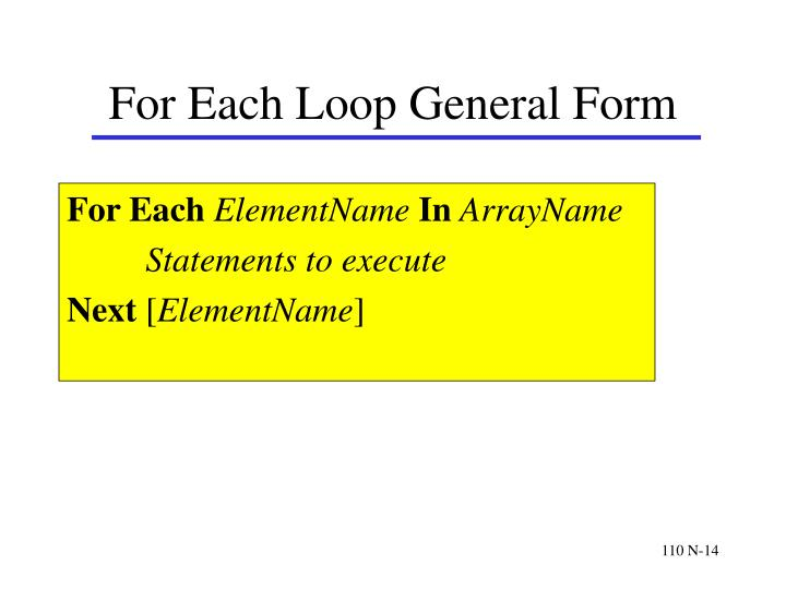 For Each Loop General Form