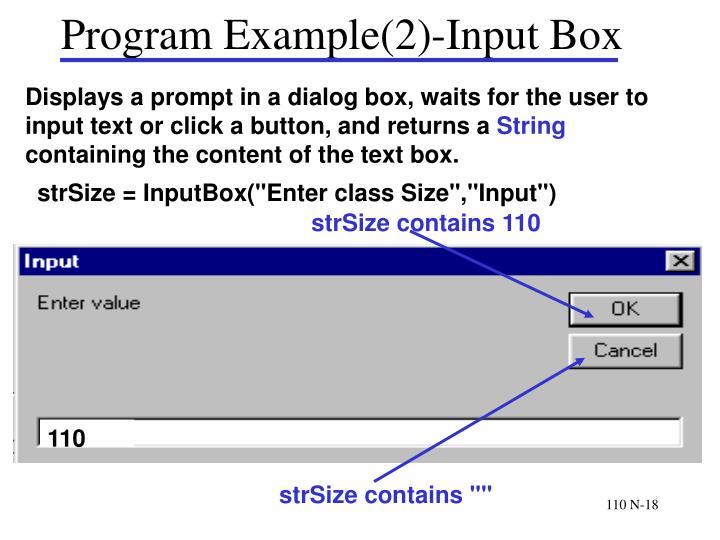 Program Example(2)-Input Box