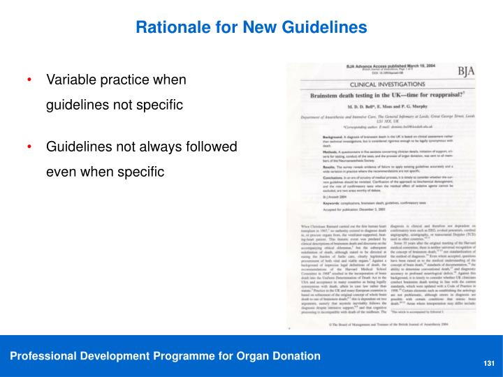 Rationale for New Guidelines