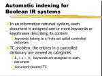 automatic indexing for boolean ir systems
