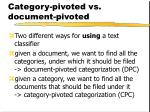 category pivoted vs document pivoted