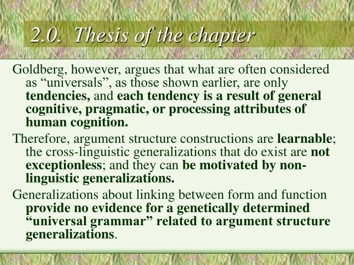 2.0.  Thesis of the chapter