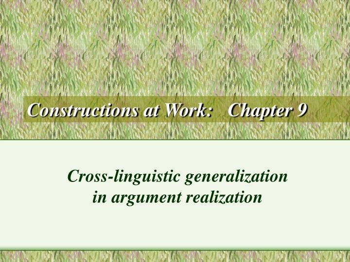 Constructions at work chapter 9