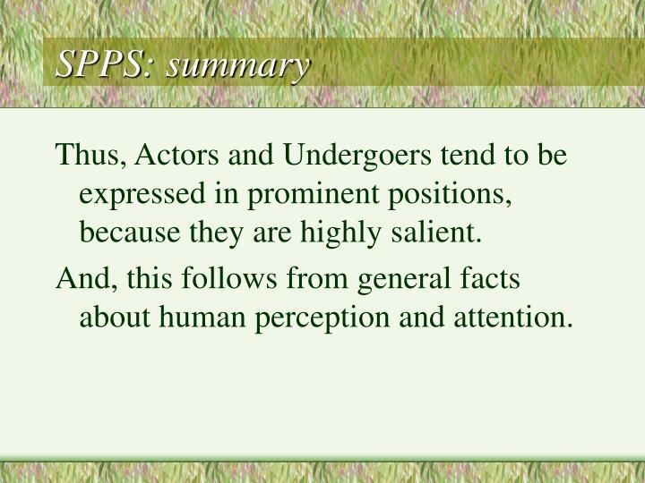 SPPS: summary