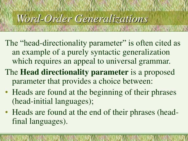 Word-Order Generalizations